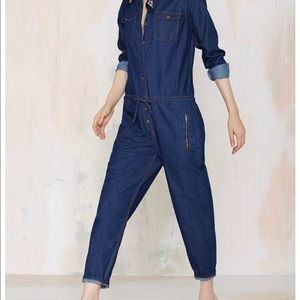 Glamorous Rachel denim jumpsuit size small.